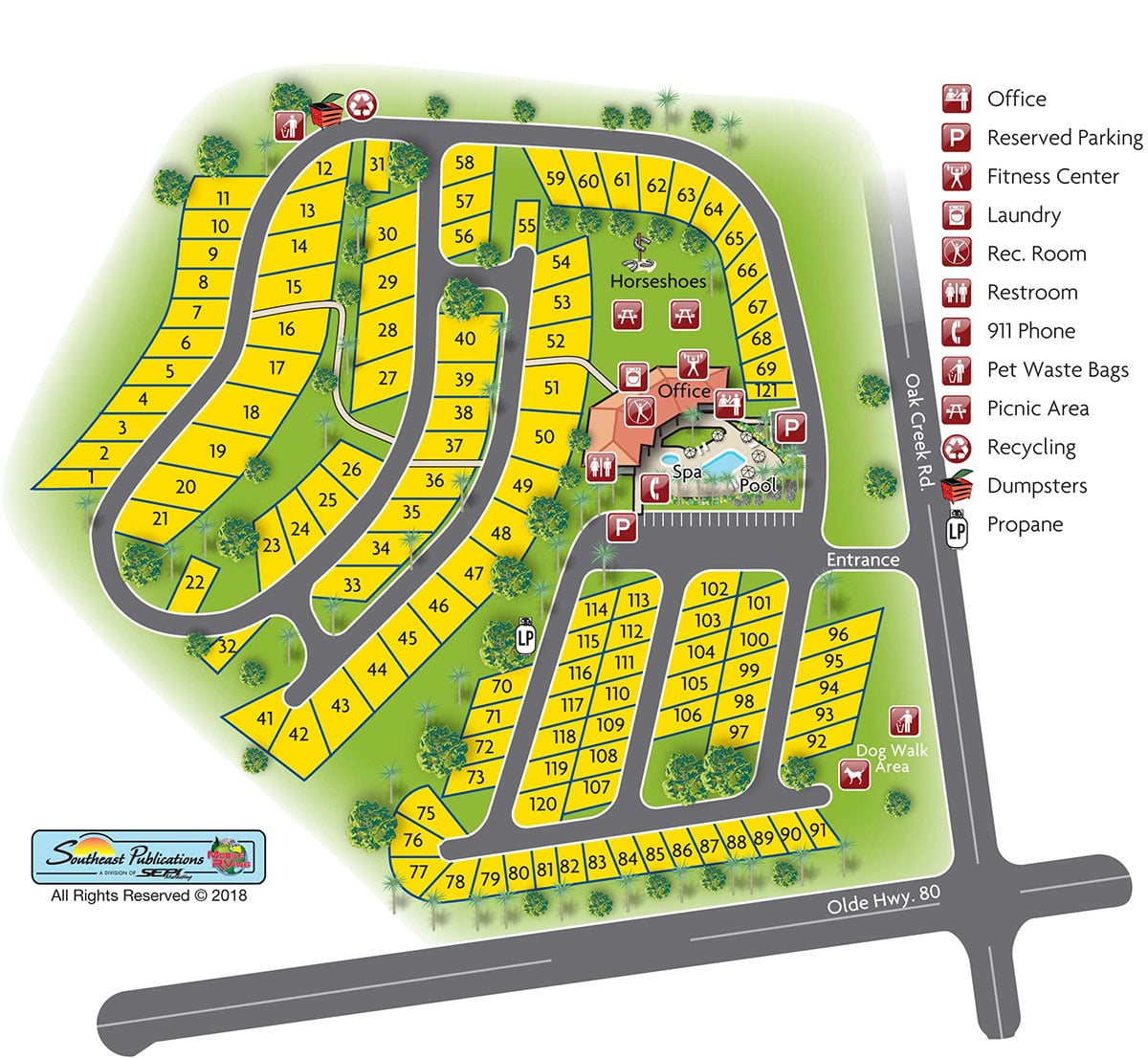 Oak Creek RV Resort site map